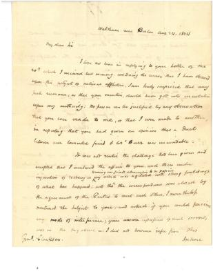 Rufus King to Matthew Clarkson, August 24, 1804