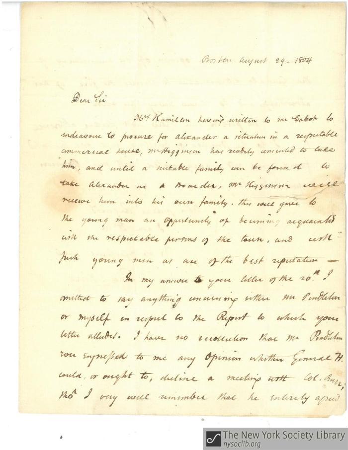 Rufus King to Matthew Clarkson, August 29, 1804